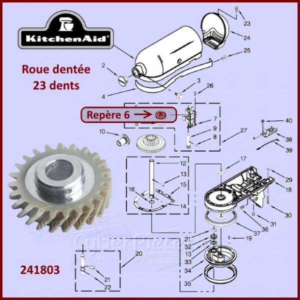 roue dent e 23 dents kitchenaid 241803 pour robots patissier sur socle kitchenaid pieces. Black Bedroom Furniture Sets. Home Design Ideas