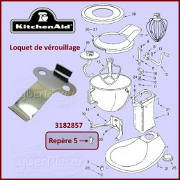 Languette de verrouillage du bol Kitchenaid 3182857 WP3182857 CYB-126380
