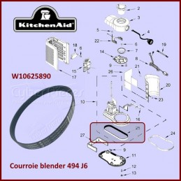 Courroie 494mm Kitchenaid W10625890 CYB-356862
