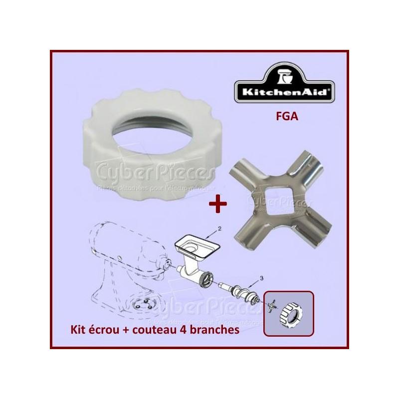 Kit écrou de serrage et couteau 4 branches Kitchenaid