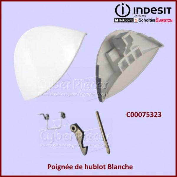 Poignée blanche de hublot Indesit C00075323