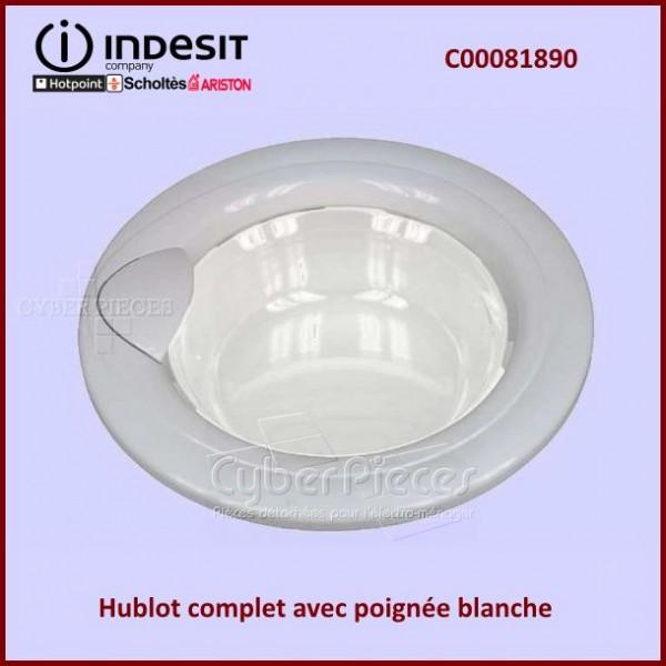 Hublot Complet poignée blanche Indesit C00081890