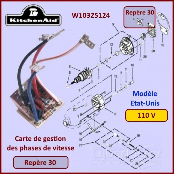 Platine de contrôle de vitesse Kitchenaid W10325124
