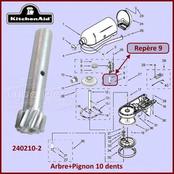 Tige avec pignon 10 dents Kitchenaid 2402102