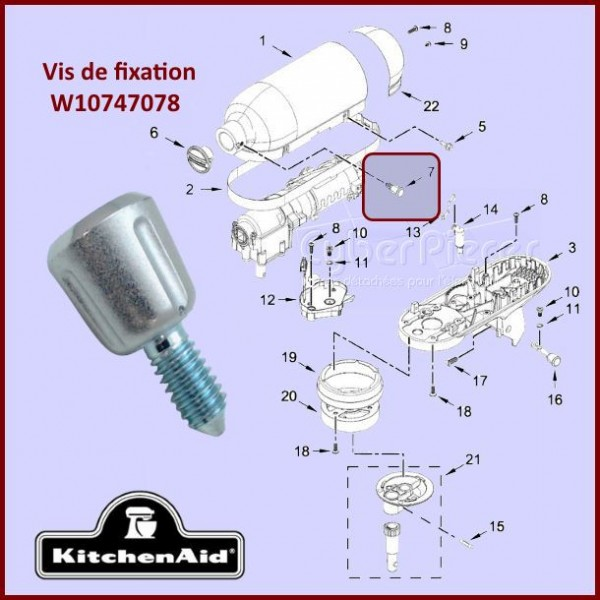 Vis de fixation Kitchenaid W10747078