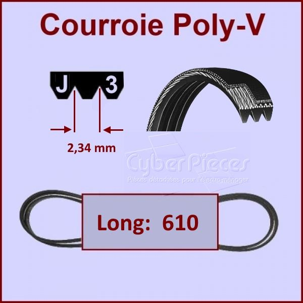 Courroie 610mm  610J3 Poly-v