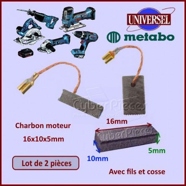 Charbon moteur 16x10x5mm metabo 1824 pour composant produits fini pieces detachees electromenager - Pieces detachees metabo ...