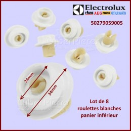 Lot de 8 roulettes blanches Electrolux 50279059005 CYB-214537