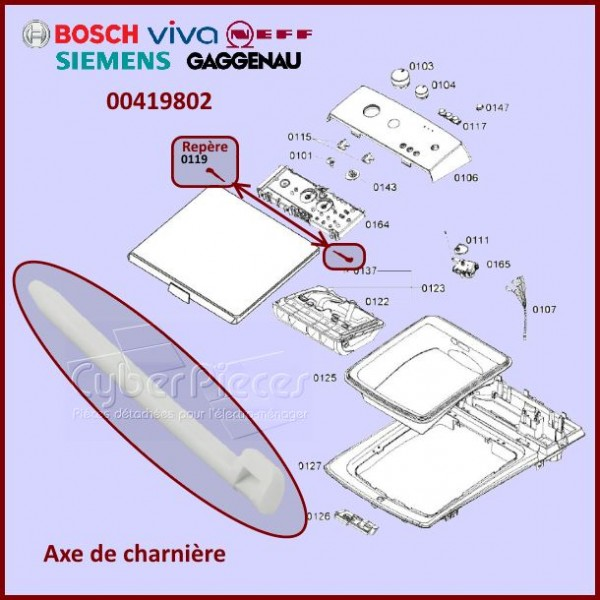 Axe de charnière Bosch 00419802