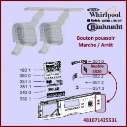 Bouton poussoir Whirlpool 481071425531 CYB-053815