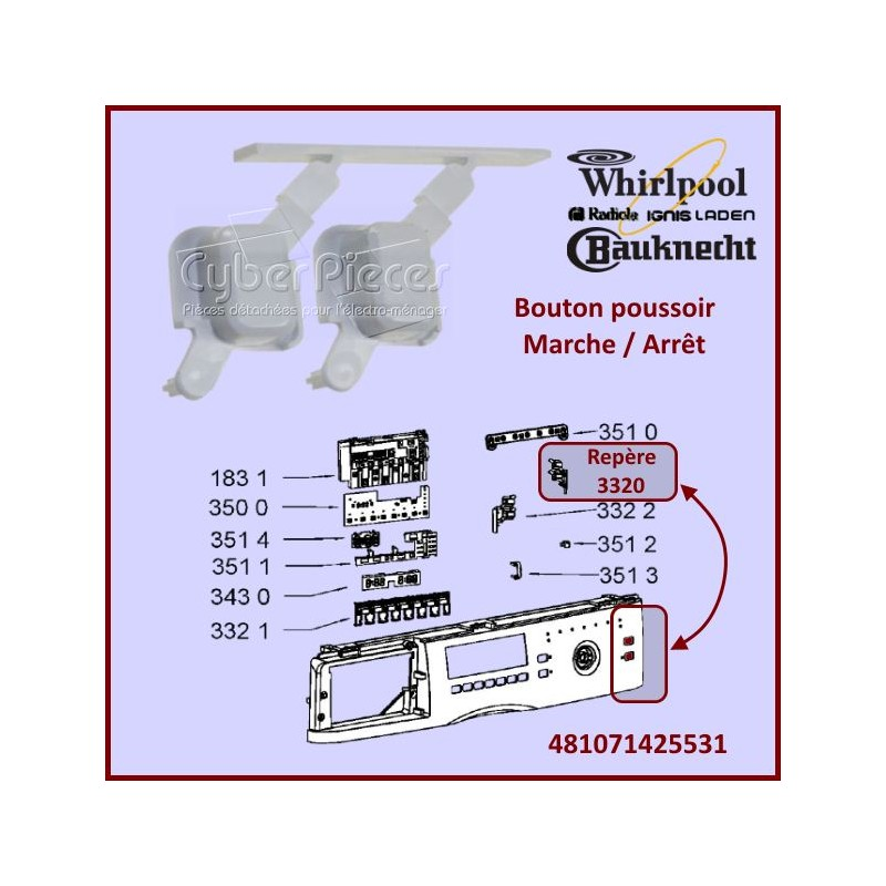 Bouton poussoir Whirlpool 481071425531
