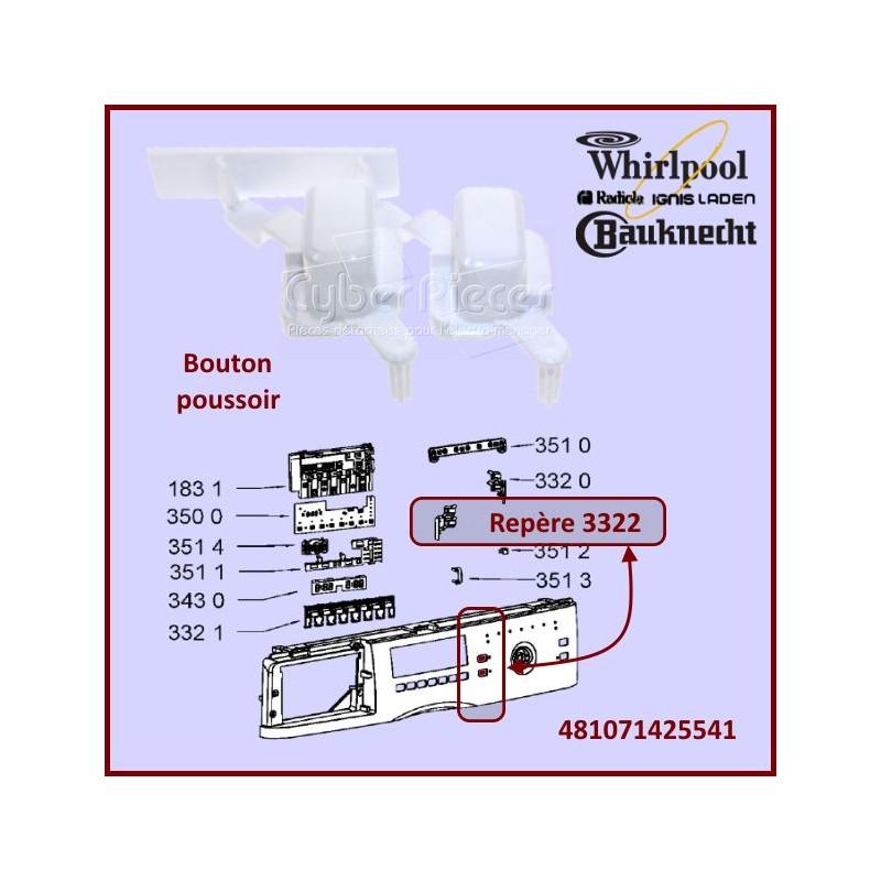 Bouton poussoir Whirlpool 481071425541