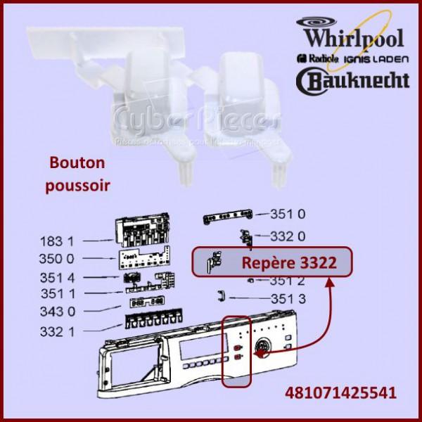 bouton poussoir whirlpool 481071425541 pour lave vaisselle. Black Bedroom Furniture Sets. Home Design Ideas
