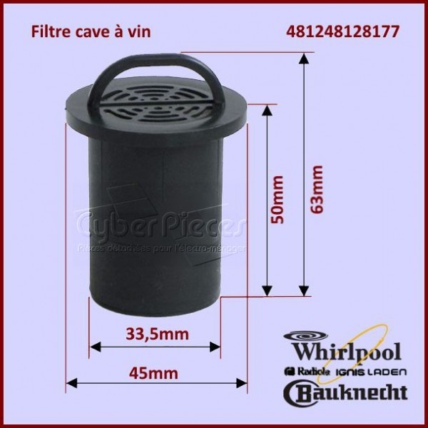 filtre cave vin whirlpool 481248128177 pour refrigerateurs et congelateurs froid pieces. Black Bedroom Furniture Sets. Home Design Ideas