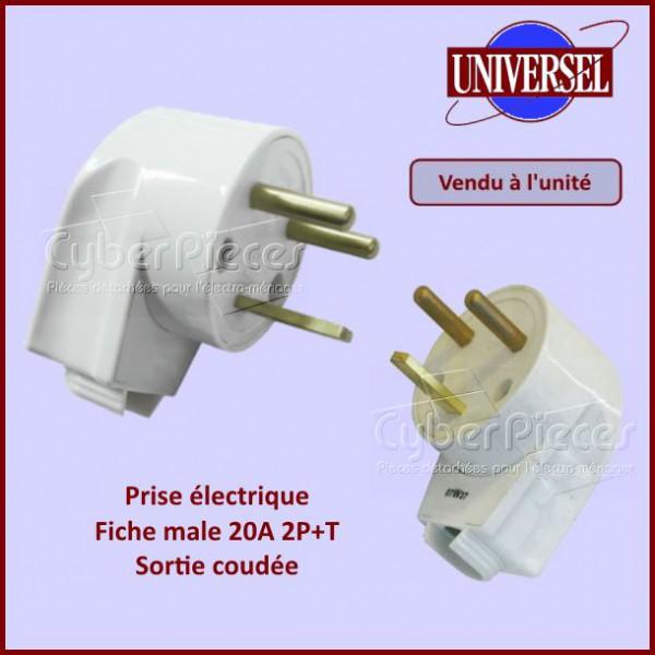 Prise lectrique male 20a 2p t sortie coud e pour composant electriques composant produits - Prise electrique male ...