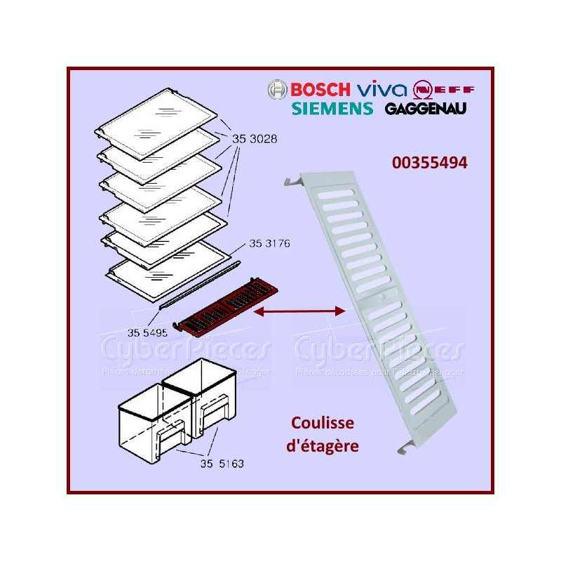 Coulisse étagère BOSCH 00355494