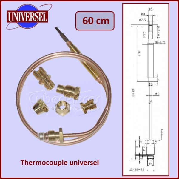 Thermocouple universel 600mm