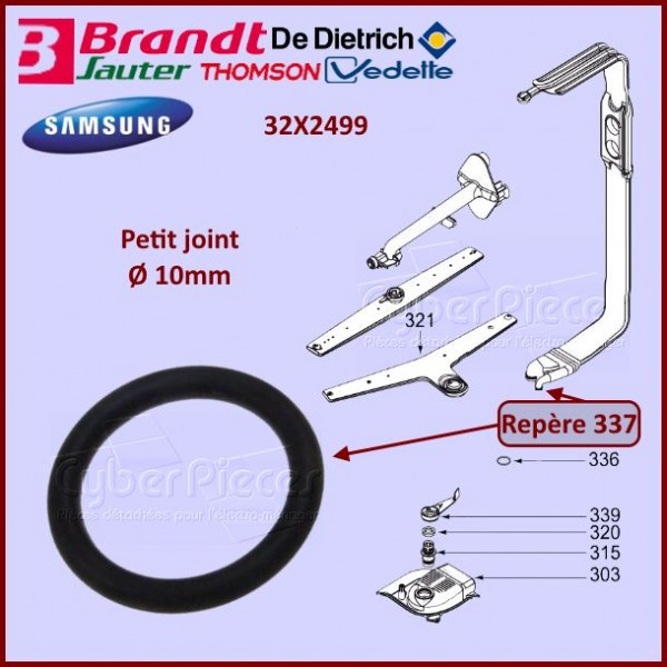 Joint du tube d'alimentation Ø10mm Brandt 32X2499