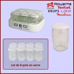 Lot De 8 Pots en verre avec Couvercles Yaourtiere Seb-moulinex CYB-028950
