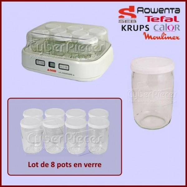 Lot De 8 Pots en verre avec Couvercles Yaourtiere Seb-moulinex