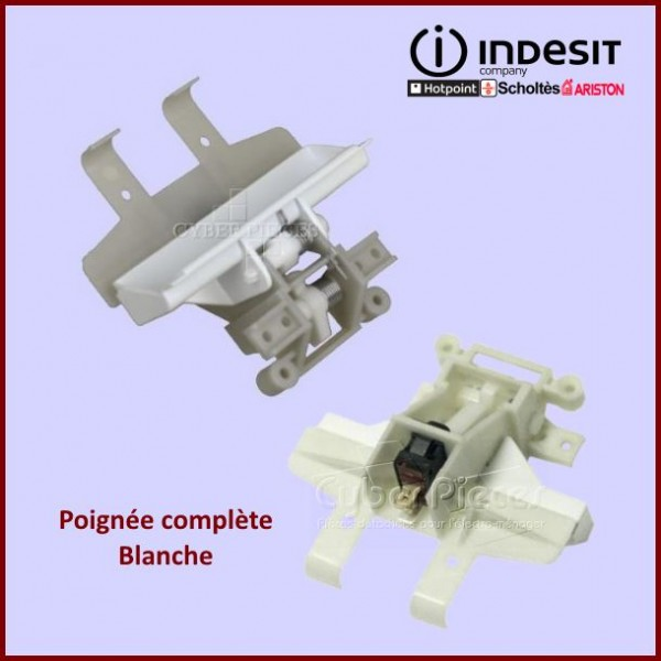 Poignée Compléte Blanche + Fermeture Indesit C00048970