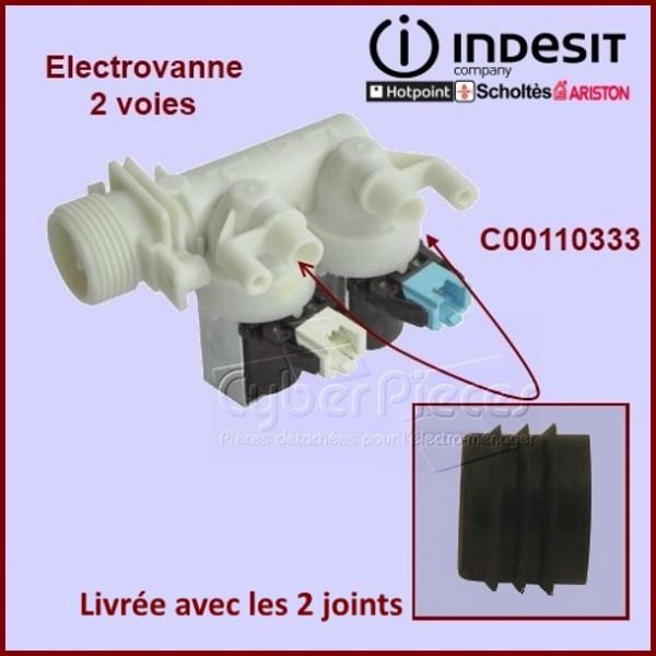 Électrovanne 2 voies à 90° Ø 10 mm + 2 manchons  joints