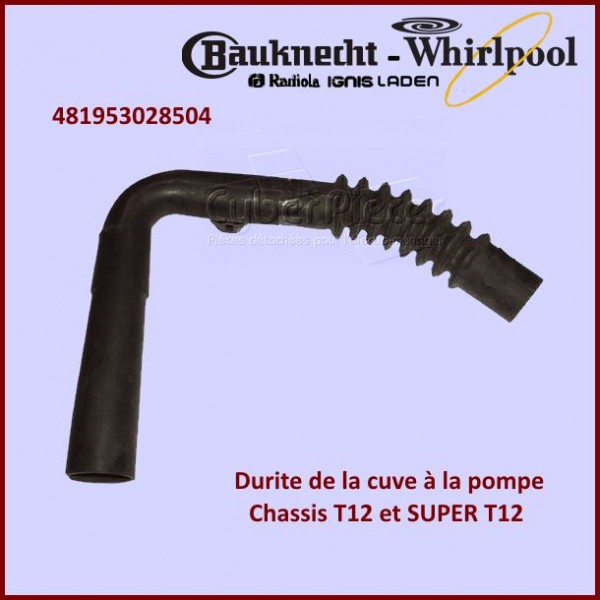 Durite Cuve - Pompe T12 Whirlpool 481953028504