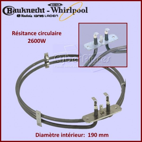 Resistance circulaire 2600W - Ø190mm int