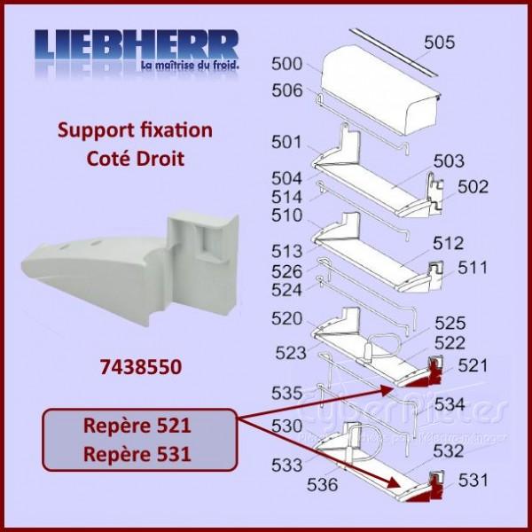 Fixation Droite Support Paroi Liebherr 7438550