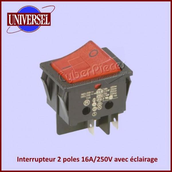 interrupteur 2 poles 16a 250v avec eclairage rouge pour. Black Bedroom Furniture Sets. Home Design Ideas
