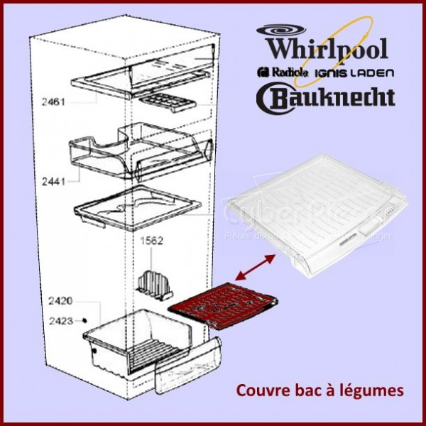 Couvre bac a legumes Whirlpool 481245088414