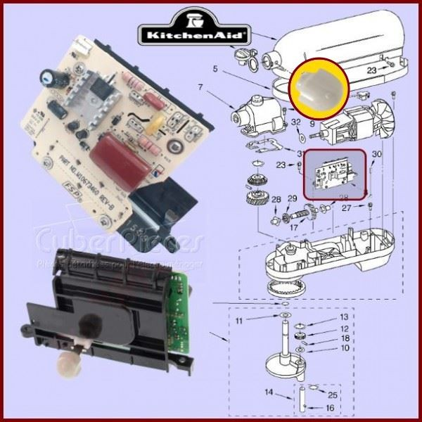 Platine de contrôle de vitesse Kitchenaid  9706650