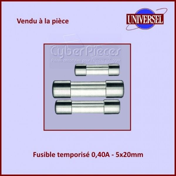 Fusible 0.40A Temporisé 5X20mm en verre