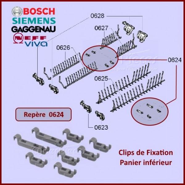 Clips de Fixation Panier inférieur Bosch 00611472