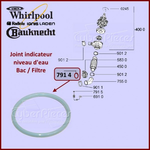 Joint Bac Filtre Whirlpool 481246668503