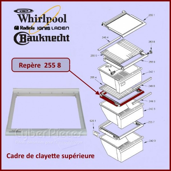 Cadre de clayette du Bac Superieur Whirlpool 481241828361