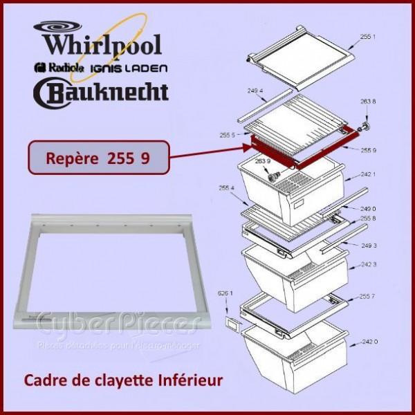 Cadre de clayette du Bac Inferieur Whirlpool 481245088457