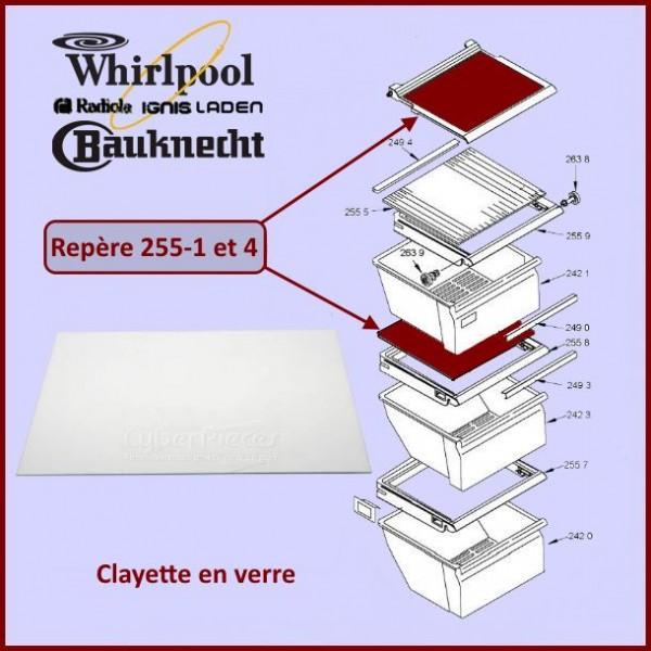 Clayette en Verre Whirlpool 481245088095