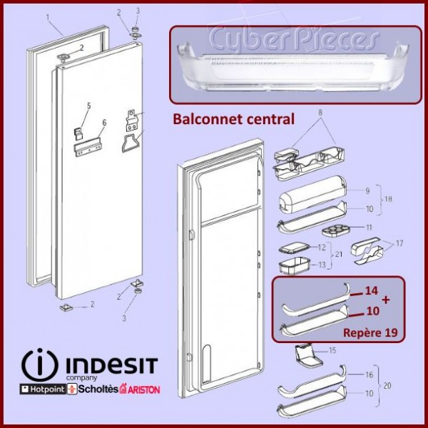 Balconnet intermediaire Indesit C00145319