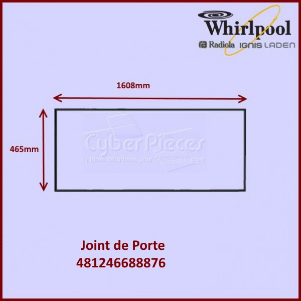 joint de porte r frig rateur 481246688876 pour joints refrigerateurs et congelateurs froid. Black Bedroom Furniture Sets. Home Design Ideas