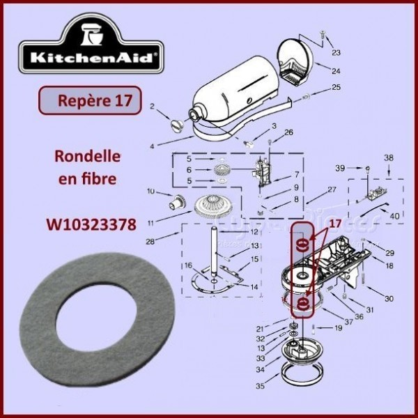 Rondelle pour robots Kitchenaid W10323378
