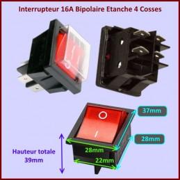 Interrupteur Rouge 16A Bipolaire Etanche 4 Cosses CYB-124553