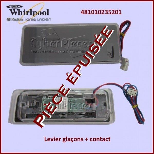 Levier glaçons + contact Whirlpool 481010235201 *** Pièce épuisée ***