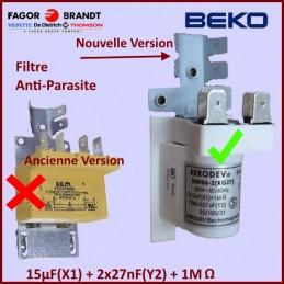 BEKO 1886870100 1746530100 Filtre anti parasite condensateur 0.15MF+2x27NF