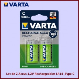 Lot de 2 Accus 1,2V Rechargeables LR14 -Type C CYB-125093