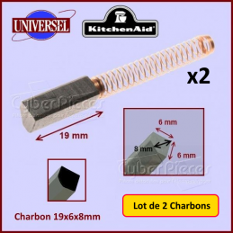 Charbons moteur 19x6x8mm Kitchenaid 9706416 (lot de 2) CYB-104760
