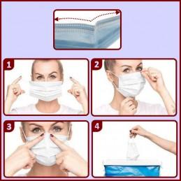 Lot de 10 Masques de protection 3 plis Bleu CYB-221054