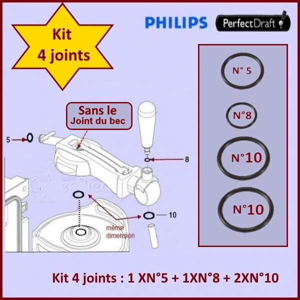 Lot de 4 Joints Perfectdraft HD3720 HD3620 HD3610 HD3600 CYB-019927