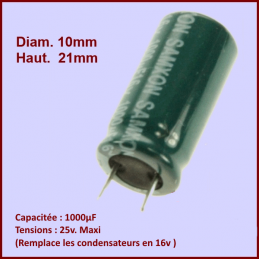 Condensateur 1000,0µF (1000,0MF) - 25v maxi. (ancien 16v) CYB-189743